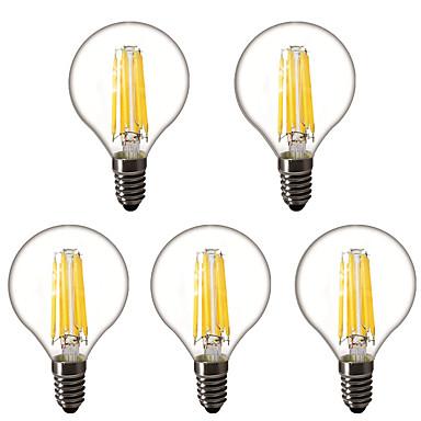 billige Elpærer-5pcs 4 W LED-globepærer LED-glødepærer 450 lm E14 E26 / E27 G45 6 LED perler Høyeffekts-LED Dekorativ Varm hvit 220-240 V 220 V 230 V