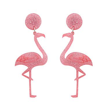 billige Moteøreringer-Dame Dråpeøreringer Øredobb Dingle Øredobber Fancy Flamingo Personalisert Hengende Grunnleggende Ferie Søt øredobber Smykker Rosa Til Gave Daglig Gate Ferie Festival 1 par