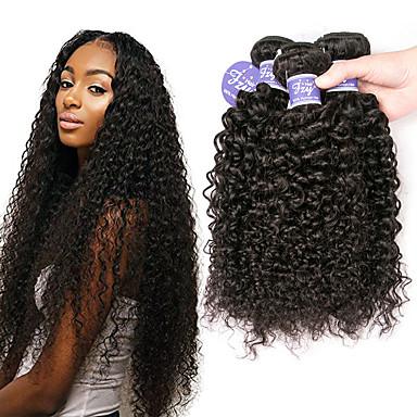voordelige Weaves van echt haar-3 bundels Braziliaans haar Gekruld Kinky Curly Onbehandeld haar Helm Menselijk haar weeft Bundle Hair 8-28 inch(es) Natuurlijke Kleur Menselijk haar weeft Naturel Beste kwaliteit Cool Extensions van