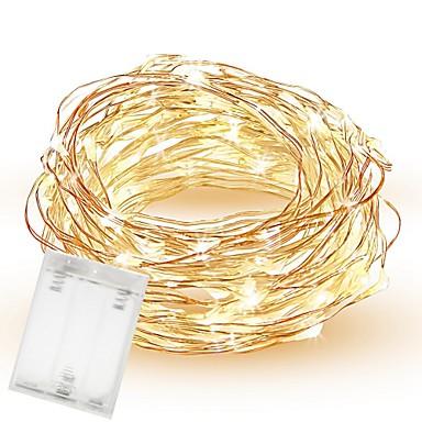 10เมตร ไฟสาย 100 ไฟ LED SMD 0603 ขาวนวล / White / แดง Waterproof / Creative / Cuttable ใช้แบตเตอรี่ AA 1pc