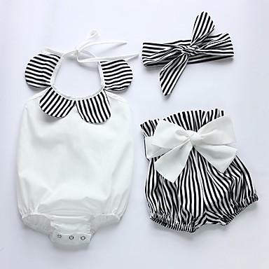 billige 9/16-Baby Jente Grunnleggende Stripet Sløyfe Ermeløs Normal Bomull Tøysett Hvit