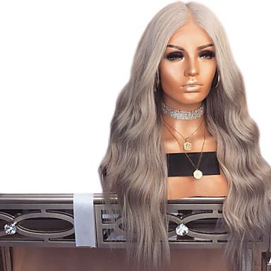 Synteettiset pitsireunan peruukit Laineita Tyyli Keskiosa Lace Front Peruukki Tumman harmaa Harmaa Synteettiset hiukset 24 inch Naisten Säädettävä / Heat Resistant / Party Tumman harmaa Peruukki Pitkä