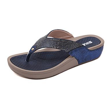 voordelige Damespantoffels & slippers-Dames PU Lente zomer Informeel / Zoet Slippers & Flip-Flops Sleehak Ronde Teen Strass Zwart / Blauw / Amandel