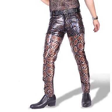 Kiiltävät Zentai asut Pants Ihon puku Moottoripyörän miehet Aikuisten Cosplay-asut Cosplay Halloween Miesten Kahvi Tulostus Halloween Masquerade / Erittäin elastinen
