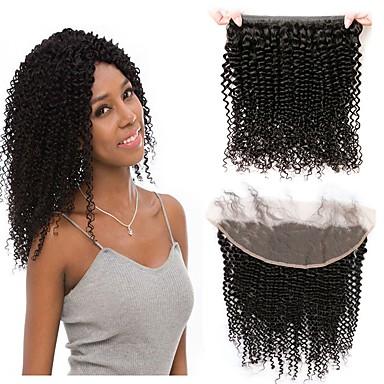1 Bundle Brazilian Hair Kinky Curly 100% Remy Hair Weave Bundles Natural Color Hair Weaves / Hair Bulk Human Hair Extensions 8-20inch Natural Color Human Hair Weaves Newborn Waterfall Cute Human Hair