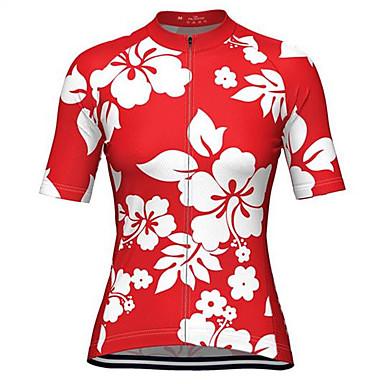 Malciklo Dame Kortærmet Cykeltrøje Rose Rød Blomster botanik Plusstørrelser Cykel Trøje Toppe Åndbart Hurtigtørrende Svedreducerende Sport Terylene Bjerg Cykling Vej Cykling Tøj / Mikroelastisk