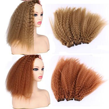 Laflare Ombre Synteettiset laajennukset Kihara Synteettiset hiukset Keskipitkä Hiusten pidennys hiukset kutoa 3 osainen Cosplay Säädettävä Paras laatu Naisten Joulu Häät Halloween