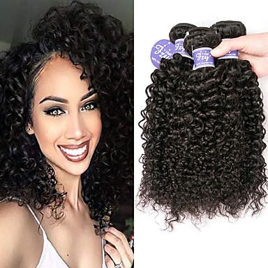 3 paquetes Cabello Peruano Kinky Curly Pelo Natural Sin Procesar Paquetes 100% Remy Hair Weave Tocados Tejidos Humanos Cabello Cabello Bundle 8-28 pulgada Natural Cabello humano teje Natural Mejor