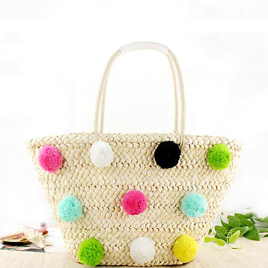 cheap Going to the beach-Women's Tote Straw Bag Straw Solid Color White / Black / Fall & Winter