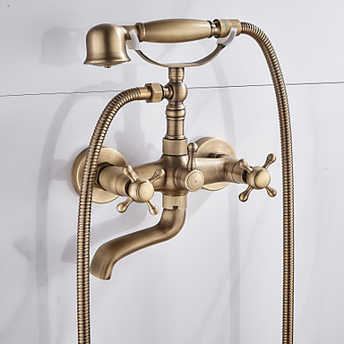 Duscharmaturen / Badewannenarmaturen - Antike Antikes Messing Badewanne & Dusche Keramisches Ventil Bath Shower Mixer Taps / Zwei Griffe Zwei Löcher