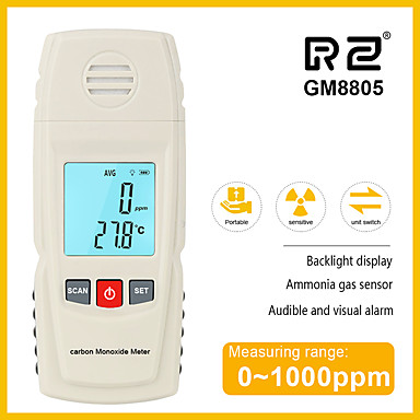 voordelige Test-, meet- & inspectieapparatuur-Rz 8805 koolmonoxide meter co gaslekzoeker analyzer hoge precisie gasmonitor 1000ppm gm8805 handheld lcd tester