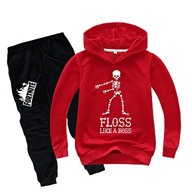 preiswerte Kleidersets für Jungen-Kinder Jungen Aktiv Grundlegend Druck Langarm Standard Standard Baumwolle Kleidungs Set Grau
