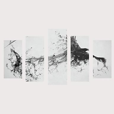 billige Trykk-Trykk Valset lerretskunst Strukket Lerret Trykk - Fugler fantasi Vintage Moderne Fem Paneler Kunsttrykk