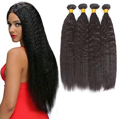 3 Bundler Brasiliansk hår Yaki Straight Remy Menneskehår Menneskehår Hovedstykke Menneskehår, Bølget Udvidelse 8-28 inch Naturlig Farve Menneskehår Vævninger Blød Klassisk Smuk Menneskehår Extensions