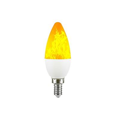 abordables Ampoules électriques-1pc 2 W Ampoules Bougies LED 100-200 lm E12 C35 38 Perles LED SMD 2835 Dégradé de Couleur Flamme vacillante Feu d'artifice en 3D Jaune 220-240 V 110-130 V