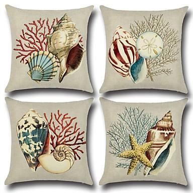 1 Pcs Cotton Linen Pillow Cover Print Nautical Fashion Christmas Throw