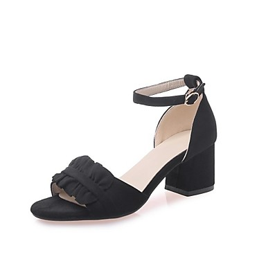 cheap Women's Sandals-Women's Faux Leather Summer / Spring & Summer Casual / Sweet Sandals Walking Shoes Chunky Heel Open Toe Satin Flower / Stitching Lace Black / Beige / Pink