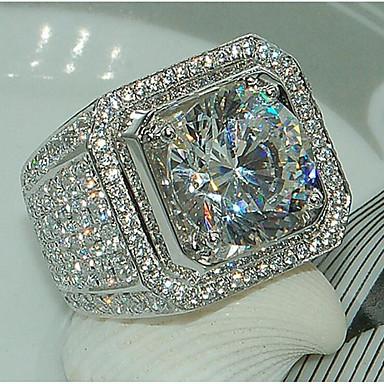 voordelige Herensieraden-Heren Ring Kubieke Zirkonia 1pc Wit Koper Geometrische vorm Stijlvol Iced Out regenboogkleurig Bruiloft Feest Sieraden Klassiek plaveien Vreugde Strass Cool