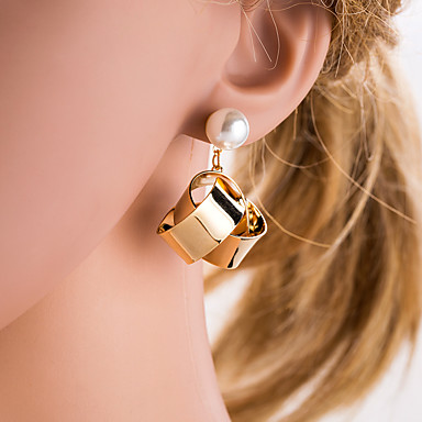 Women's Silver Gold Geometrical Drop Earrings Imitation Pearl Earrings European Jewelry Gold / Silver For Daily 1 Pair