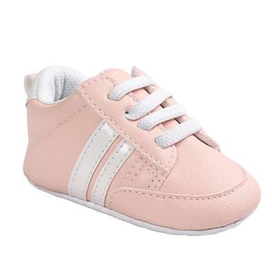 voordelige Babyschoenentjes-Meisjes PU Sneakers Zuigelingen (0-9m) Comfortabel / Eerste schoentjes Wit / Zwart / Roze en Wit Lente