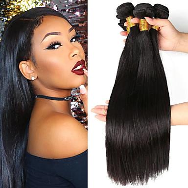 voordelige Weaves van echt haar-3 bundels Braziliaans haar Recht Onbehandeld haar Menselijk haar weeft Bundle Hair Een Pack Solution 8-28 inch(es) Natuurlijke Kleur Menselijk haar weeft Geurvrij Glad Beste kwaliteit Extensions van