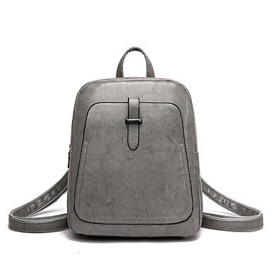 PU Vetoketjuilla Backpack Yhtenäinen väri Päivittäin Ruskea / Musta / Harmaa / Syystalvi