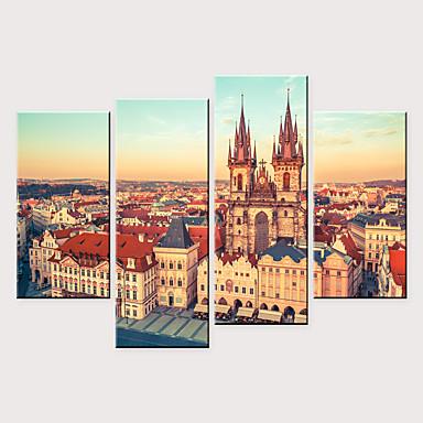 abordables Toiles-Imprimé Impressions sur toile roulées - Paysage Architecture Moderne Quatre Panneaux Art Prints