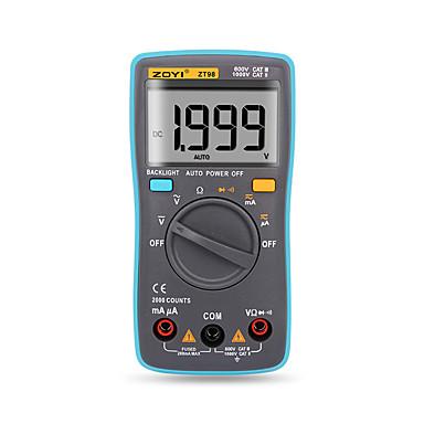 voordelige Test-, meet- & inspectieapparatuur-zt98 digitale automatische bereik multimeter 2000 telt achtergrondverlichting ac / dc ampèremeter voltmeter voltmeter ohm draagbare meter