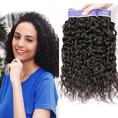 baratos Extensões de Cabelo Natural-3 pacotes Cabelo Malaio Kinky Liso Cabelo Natural Remy 100% Remy Hair Weave Bundles Cabelo Humano Ondulado Extensor Cabelo Bundle 8-28 polegada Côr Natural Tramas de cabelo humano S. Valentim Fofo