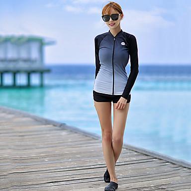 Naisten Rashguard-uimapuku Uima-asut UV-aurinkosuojaus Tuulenkestävä Pitkähihainen 3-osainen - Uinti Sukellus Patchwork Syksy Kevät Kesä / Elastinen