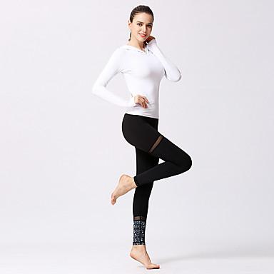 Naisten Patchwork Jooga Suit Urheilu 3D Print Liikunta-asut Jooga Kuntosaliharjoitus Pitkähihainen Activewear Kevyt Hengittävä Nopea kuivuminen Hikeä siirtävä Elastinen