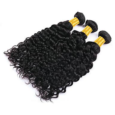 baratos Extensões de Cabelo Natural-3 pacotes Cabelo Indiano Onda de Água Não processado Cabelo Natural Cabelo Humano Ondulado Cabelo Bundle Extensões de Cabelo Natural 8-28 polegada Côr Natural Tramas de cabelo humano Design Moderno