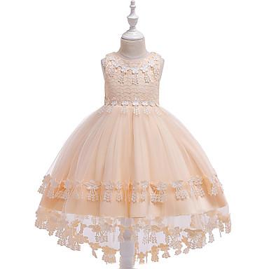 ca0591a0d0f Παιδιά Κοριτσίστικα Ενεργό / Γλυκός Μονόχρωμο Κεντητό Αμάνικο Ασύμμετρο  Φόρεμα Ρουμπίνι