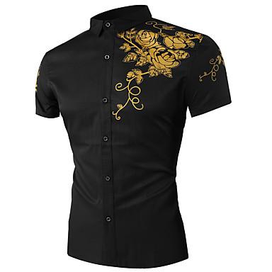 Klassisk krave Herre - Blomstret Bomuld, Trykt mønster Skjorte Sort XL