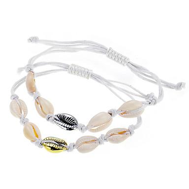 billige Motearmbånd-Dame Vevet Armband Tau Skall Puka Shell Klassisk Vintage Tropisk Skall Armbånd Smykker Gull / Sølv Til Daglig Gate Arbeid