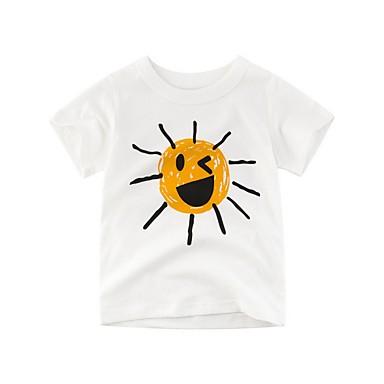baratos Camisas para Meninos-Infantil Para Meninos Básico Estampado Manga Curta Algodão Camiseta Bege