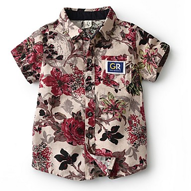 billige Gutteklær-Barn Gutt Grunnleggende Blomstret Kortermet Bomull Skjorte Blå