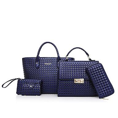 preiswerte Taschen-Damen Reißverschluss Bag Set Beutel Sets Polyester / PU Volltonfarbe 5 Stück Geldbörse Set Rote / Braun / Hellgrau / Schlangenhaut / Herbst Winter