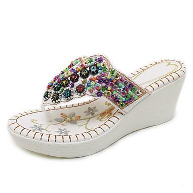 voordelige Damespantoffels & slippers-Dames PU Zomer Vintage / Informeel Slippers & Flip-Flops Sleehak Open teen Strass / Pailletten Wit / Zwart