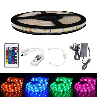 baratos Faixas de Luzes LED-Brelong inteligente wifi smd 2835 luz com rgb 24keys 5 m 300led ip65 não à prova d 'água dc12v com 5a eu poder