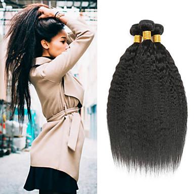 voordelige Weaves van echt haar-4 bundels Braziliaans haar KinkyRecht Onbehandeld haar Menselijk haar weeft Bundle Hair Een Pack Solution 8-28inch Natuurlijke Kleur Menselijk haar weeft Geurvrij sexy Lady Cool Extensions van echt
