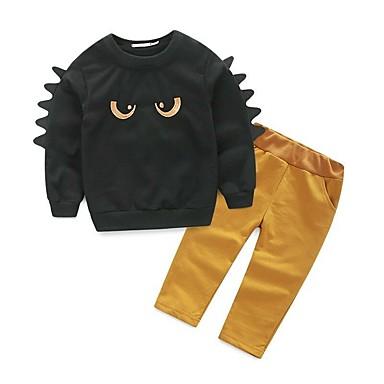 povoljno Odjeća za dječake-Djeca Dijete koje je tek prohodalo Dječaci Aktivan Osnovni Crtani film Dugih rukava Pamuk Spandex Komplet odjeće Crn
