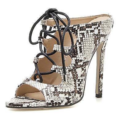 Kadın's Sandaletler Stiletto Topuk Sentetikler Tatlı / Minimalizm Sonbahar / İlkbahar yaz Siyah / Parti ve Gece / Zıt Renkli