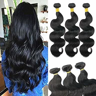 voordelige Weaves van echt haar-6 bundels Braziliaans haar BodyGolf Onbehandeld haar Menselijk haar weeft Bundle Hair Een Pack Solution 8-28 inch(es) Natuurlijke Kleur Menselijk haar weeft Geurvrij Beste kwaliteit nieuwe collectie