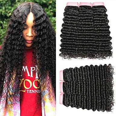 baratos Extensões de Cabelo Natural-6 pacotes Cabelo Indiano Encaracolado Deep Curly 100% Remy Hair Weave Bundles Peça para Cabeça Cabelo Humano Ondulado Cabelo Bundle 8-28 polegada Côr Natural Tramas de cabelo humano Sem Cheiros