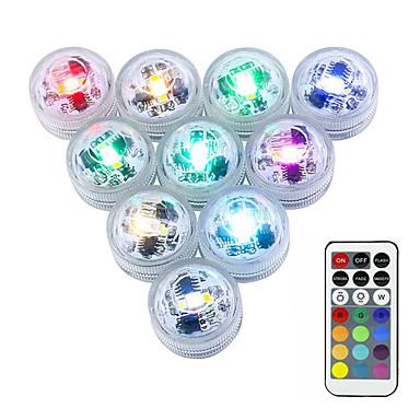 billige Utendørsbelysning-10pcs 3 W Undervannslys Vanntett / Fjernstyrt / Mulighet for demping Endring 1.2 V Egnet for vaser og akvarier 3 LED perler