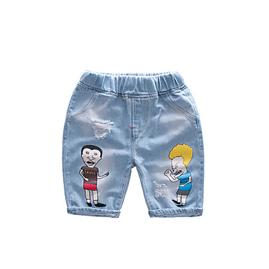 baratos Jeans Para Meninos-Infantil Para Meninos Activo Básico Sólido Estampado Buraco rasgado Estampado Algodão Jeans Azul