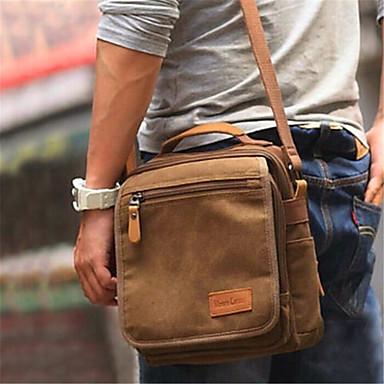 hesapli Çapraz Çantalar-Erkek Çapraz Çanta Tuval Tek Renk Siyah / Kahve / Sonbahar Kış