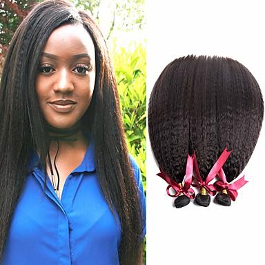voordelige Weaves van echt haar-6 bundels Braziliaans haar KinkyRecht Onbehandeld haar Menselijk haar weeft Bundle Hair Een Pack Solution 8-28 inch(es) Natuurlijke Kleur Menselijk haar weeft Geurvrij Zacht Hot Sale Extensions van