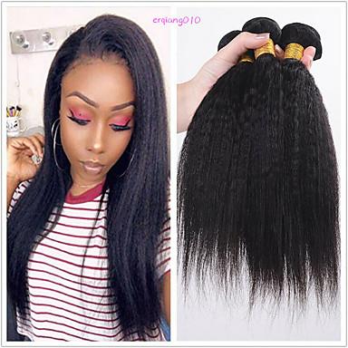 voordelige Weaves van echt haar-6 bundels Braziliaans haar KinkyRecht Niet verwerkt Menselijk Haar Menselijk haar weeft Bundle Hair Een Pack Solution 8-28 inch(es) Natuurlijke Kleur Menselijk haar weeft Geurvrij Zacht Modieus